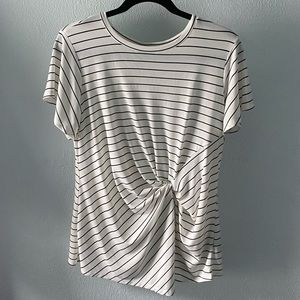 Striped blouse with a twist knot